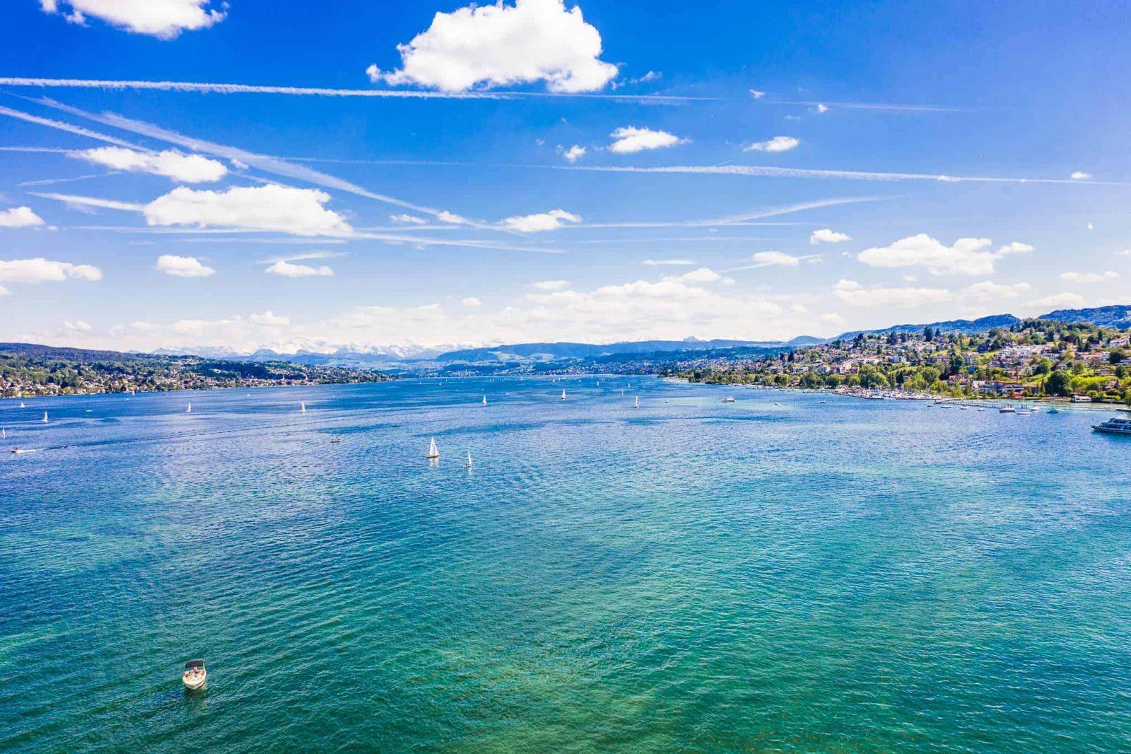 züricher See aus der Luft, Vogelperspektive, Mavic 2 pro,